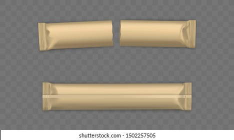 Blank brown, whole new and used, torn in half sachets sticks for sugar, instant coffee or candy wrapper 3d realistic vector illustration isolated on transparent background. Product packaging mockup