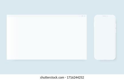 Blank browser window. Desktop computer frame and smartphone vector clay mockup. Minimal template for web design presentation.