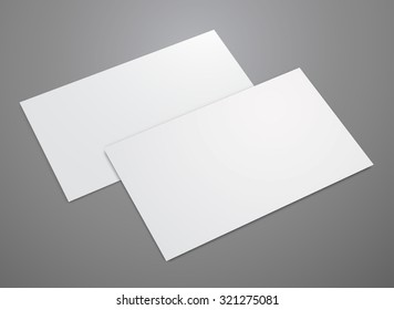 Blank business card on grey background. Vector template