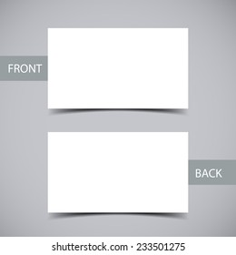 Blank business card with shadow template. Vector illustration