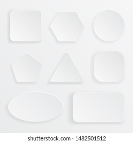 Blank buttons icon set of circle, square, pentagon, hexagon, triangle, heptagon, rectangle.