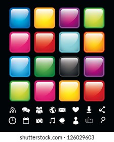 blank buttons with icons, app store. vector illustration