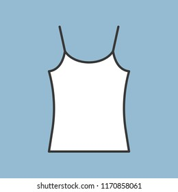 blank camisole icon, filled color outline editable stroke