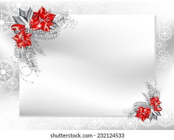 Blank card with silver and red poinsettia