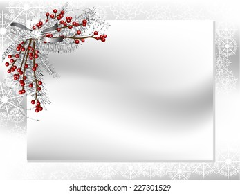 Blank card with silver ribbon with diamonds