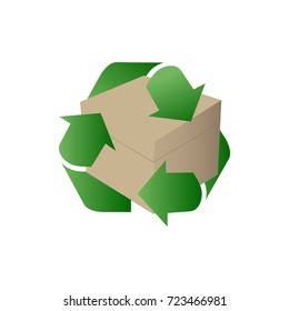 Blank of cardboard box for trash of garbage. Recycle box. Vector.