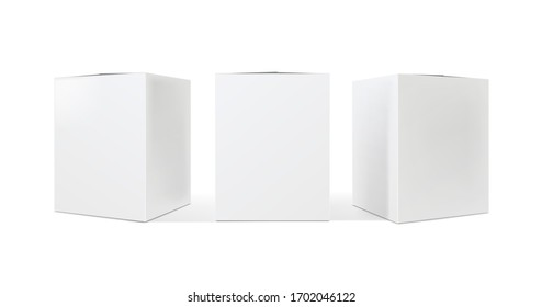 Blank cardboard package boxes. Box set mockup. Three templates, layout of boxes in different positions with a shadow for design or branding - Vector EPS 10