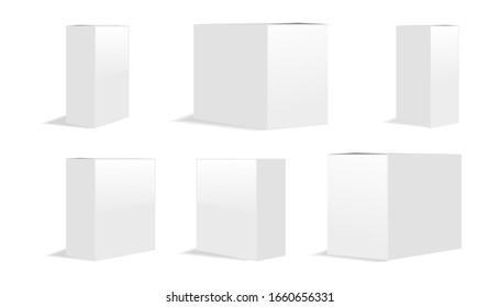 Blank cardboard package boxes mockup. Box set. Six templates, layout of boxes in different positions with a shadow for design or branding - stock vector illustrator eps 10