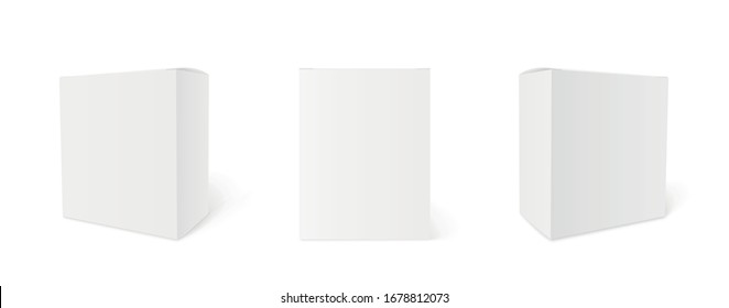 Blank cardboard package boxes mockup. Box set. Three templates, layout of boxes in different positions with a shadow for design or branding - stock vector.