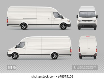 Blank Cargo Delivery Van vector Mockup template for Car Branding and Corporate identity design on transport. Hi-detailed realistic Cargo Mini Bus isolated on grey background. Easy to edit layout