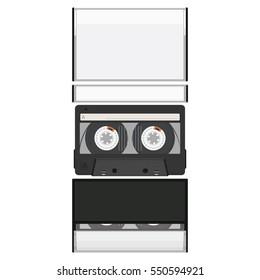 Blank cassette tape box design mock up. Retro audio music cassette. Realistic vector illustration.