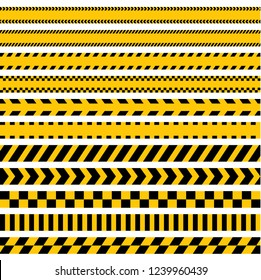 Blank caution lines yellow and black warning tapes danger signs vector image