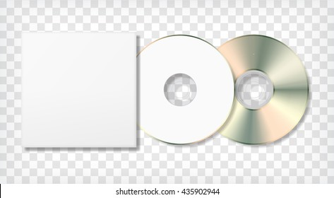 Blank CD disk and case template. Photo realistic blank mock up. Corporate identity. Vector illustration.