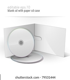 Blank CD DVD in paper case | editable eps. 10 vector