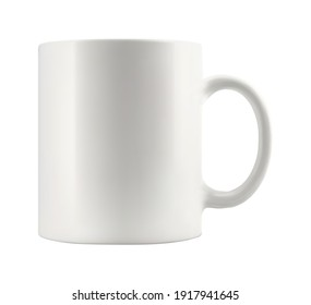 Blank ceramic mug mockup template for branding on white