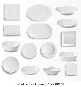 Blank ceramic plates set realistic kitchen dishes template cooking dishware round empty tableware vector illustration.