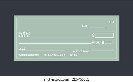 Blank Check Book Vector Illustration Background
