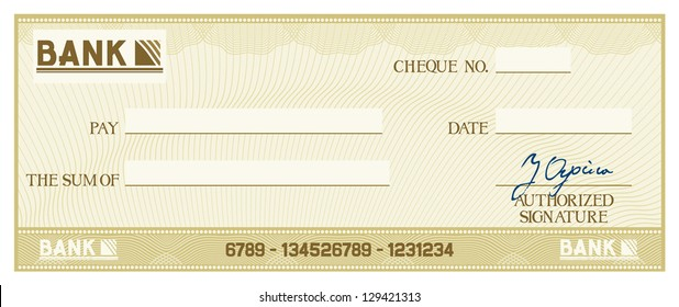 blank check (business cheque design)