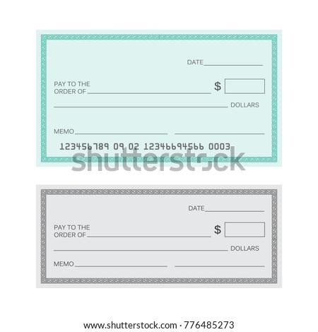 Blank Check Template Check Vector Template Stock Vector (Royalty ...