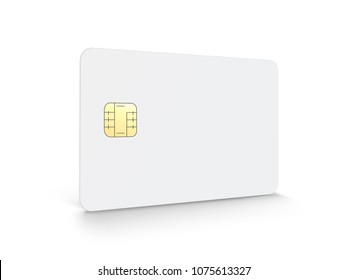 Blank chip card with copy space in 3d illustration