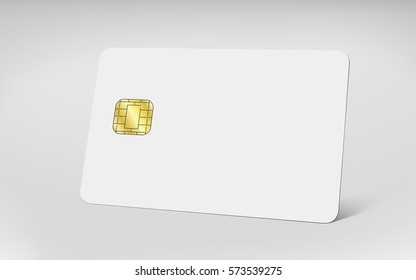 Blank chip card, empty card for editing in 3d illustration isolated on grey background