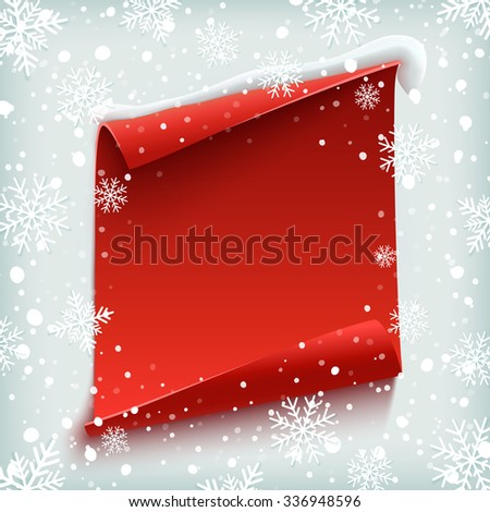 Blank christmas background greeting card template stock vector blank christmas background greeting card template red curved paper banner on winter maxwellsz