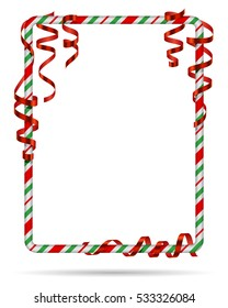 blank christmas border candy cane frame with red serpentine ribbon isolated on white - Christmas Border