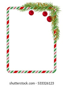 blank christmas border candy cane frame with branch of christmas tree fir red - Christmas Border