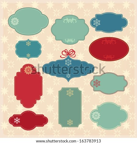 Blank Christmas Labels Eleven Labels Ready Stock Vector Royalty