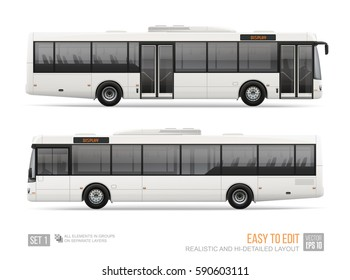 Blank City Bus template isolated on white background. Realistic Vector Passenger Bus for mockup, brand identity design and advertising presentation. Hi-detailed Long Passenger bus