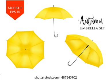 Blank Classic Opened Round Rain Umbrella ,Parasol Sunshade. Mock up Close up on White Background set. Front top Side View,Orange Vector illustration image for advertising, poster, banner, print design