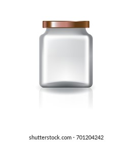 Blank clear square jar with copper lid for supplements or food product. Isolated on white background with reflection shadow. Ready to use for package design. Vector illustration.