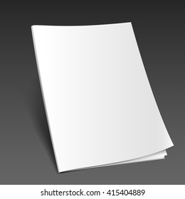 Blank closed magazine mockup template on the dark background. Realistic illustration. Vector EPS10.