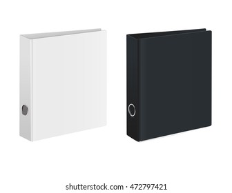 Blank closed office binder. Black and white covers. Isometric view, on white background. Vector illustration