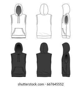 Blank clothing templates. Vector illustration of sleeveless hoody in white and black colors. Isolated on white background.