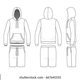 Blank clothing templates. Vector illustration of sweatshirt and shorts. Isolated on white background.
