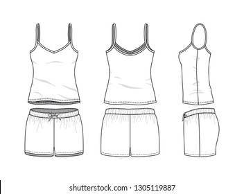Blank clothing templates of women camisole and sports short set in front, side, back views. Vector illustration isolated on white background. Technical fashion drawing set.