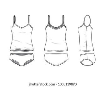 Blank clothing templates of women camisole and slip set in front, side, back views. Vector illustration isolated on white background. Technical fashion drawing set.