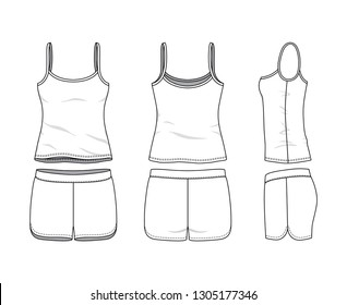 Blank clothing templates of women camisole and short set in front, side, back views. Vector illustration isolated on white background. Technical fashion drawing set.