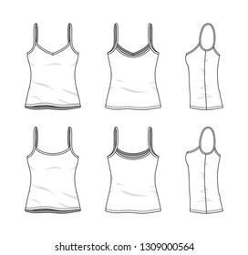 Blank clothing templates of women strapless top, camisole in front, side, back views. Vector illustration isolated on white background. Technical fashion drawing set.
