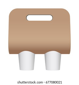 Blank coffee cup carrier mockup isolated on white background. Display your design on this template. Vector illustration