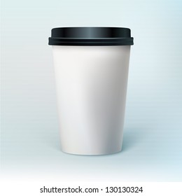 Blank coffee cup to represent your template design. Ideal for coffee shops presentations, websites and printing ads.