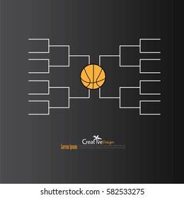a blank college basketball tournament bracket.vector illustration.