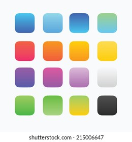Blank colored button templates. Rounded shapes