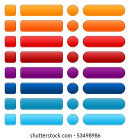 Blank colored internet web button set. Round, square and rectangle shapes. White background