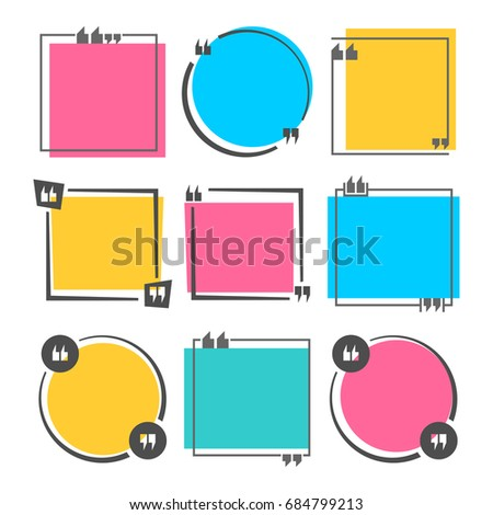 blank colored quote square template empty stock vector royalty free