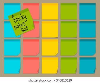 Blank colorful sticky notes set. Flat design. Vector illustration