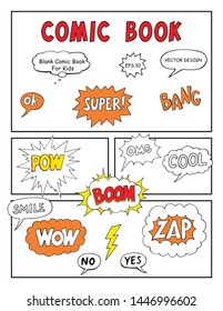 Blank Comic Book, Mock up with empty speech bubbles