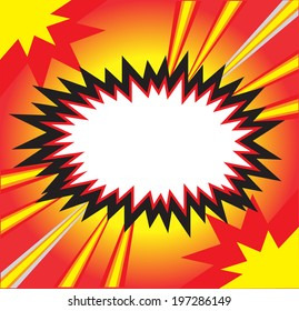 Blank comic speech bubble in pop art style on burst background