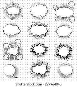 BLANK Comic speech bubbles set, comic wording sound effect set design for comic background, comic strip
